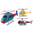 three helicopters in different colors vector image vector image