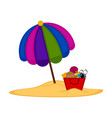 umbrella and a sand bucket with objects vector image vector image