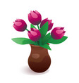 vase of tulip flowers vector image