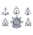Vintage marine and nautical icons vector image vector image