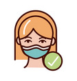 wearing protective mask medical prevent spread of vector image vector image