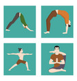 yoga positions mans characters class cards vector image vector image