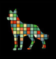 dog pet color silhouette animal vector image