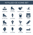 16 ice icons vector image vector image