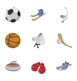 Accessories for training icons set cartoon style vector image vector image
