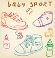 Baby shoes set sketch handdrawn color crayons vector image vector image