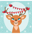 Birds and Christmas reindeer vector image