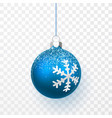 blue christmas ball with snow effect xmas glass vector image vector image