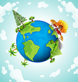 Blue planet with trees and mountains vector image vector image