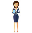 business flat office woman lady showing something vector image
