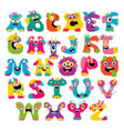 cartoon children cute and funny monster alphabet vector image