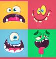cartoon monster faces set set vector image vector image