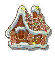cartoon rustic wooden house in winter gingerbread vector image