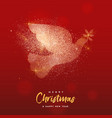 christmas and new year gold glitter bird card vector image