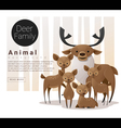 Cute animal family background with Deers vector image vector image
