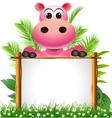 cute hippopotamus with blank sign vector image vector image