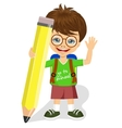 cute little boy holding big yellow pencil vector image vector image