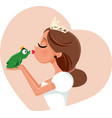 cute princess kissing prince frog vector image vector image