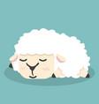 cute white little sheep sleep vector image vector image