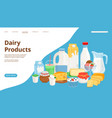 dairy products landing page vector image vector image