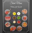 different types of meats and sauces on steak menu vector image