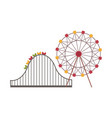ferris wheel and roller coaster attraction vector image