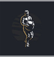 fitness man with atlas stone vector image