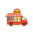flat street food van with junk food vector image vector image