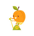funny peach training on an exercise bike sportive vector image