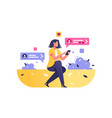 girl surfing internet on modern smartphone vector image vector image
