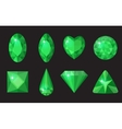 Green gems set Jewelry crystals collection vector image vector image