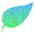 Halftone blue-green herbal leaf icon vector image