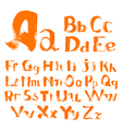 handwritten by a textured brush alphabet vector image