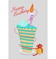 high cake birthday with candle piece of cake on a vector image vector image