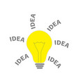 light bulb lamp icon with idea text shining vector image