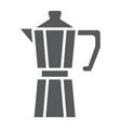 moka pot glyph icon coffee and cafe coffeemaker vector image vector image