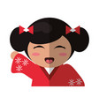 portrait doll kokeshi geisha girl vector image vector image