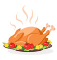 roast turkey on a tray with herbs apples and vector image