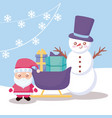 santa claus with sled and snowman vector image