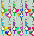 seamless pattern cute rabbits vector image