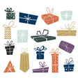 set multi-colored christmas gifts vector image vector image