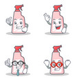 set of cleaner character with proud okay vector image vector image