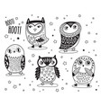 set of cute cartoon owls with ethnic ornament in vector image