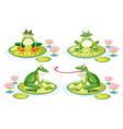 set of frog on lotus pad vector image