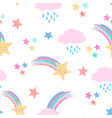 shooting stars and fluffy clouds with faces vector image vector image