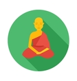 Sitting buddhist monk icon flat style vector image vector image