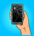 smart phone and broken screen pop art vector image