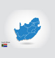 south african map design with 3d style blue south vector image vector image