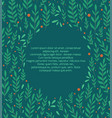 square flat card with branches leaves and berries vector image vector image