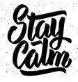 stay calm hand drawn lettering isolated on white vector image vector image